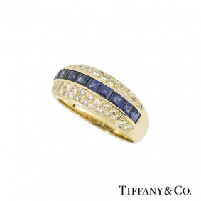 Tiffany & Co. 18k Yellow Gold Diamond and Sapphire Ring